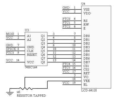 并通过lj12的同步串行通讯接口spi来传输lcd的显示的数据.