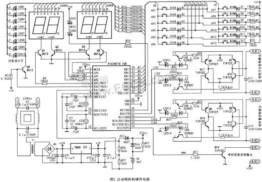 向驱动控制电路供电; 24 v直流电经过7805稳压后向按键显示等电路供电
